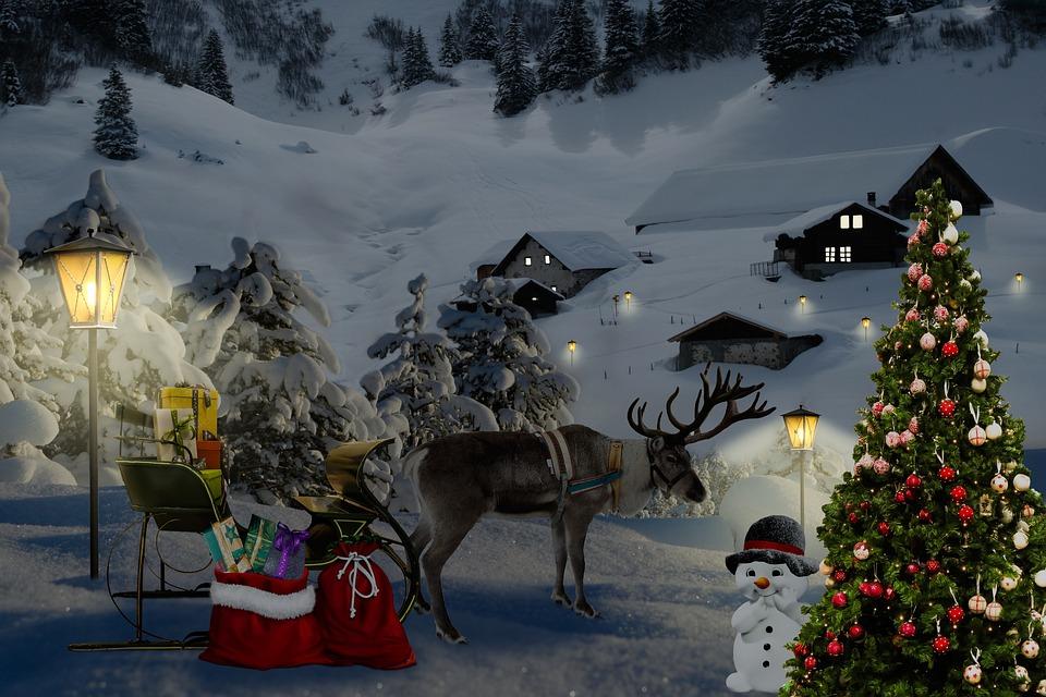 Christmas, Santa Claus, Coach, Reindeer, Christmas Tree
