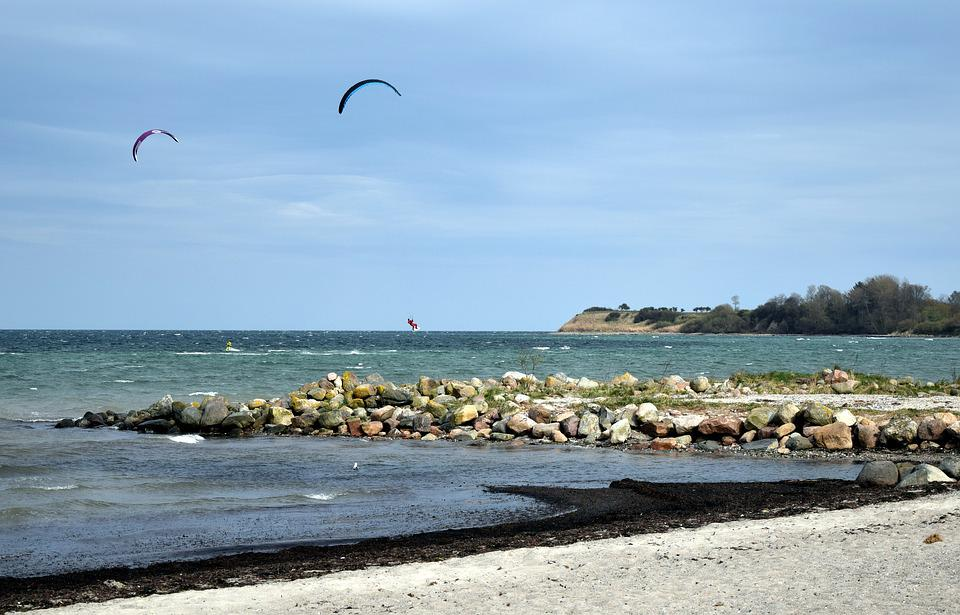 Sea, Beach, Sport, Kite Surfing, Baltic Sea, Coast