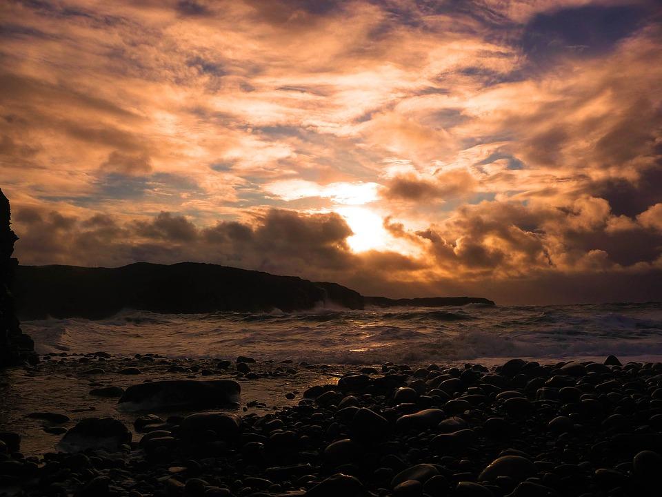 Sunset, Beach, Ireland, Sea, Coast, Clouds, Stormy
