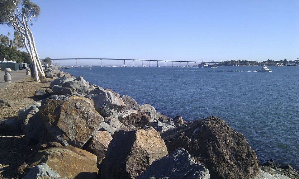 San Diego, Coast, California, Bay, Ocean, Bridge