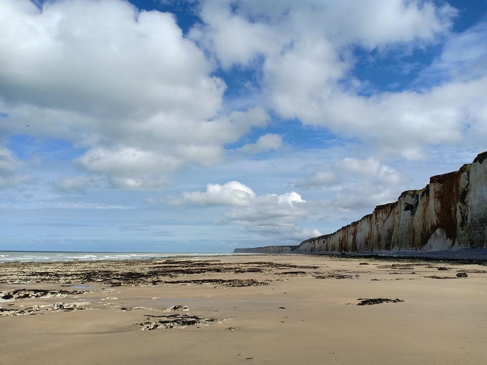 Beach, Chalk Cliffs, Clouds, Sea, Coast, Normandy