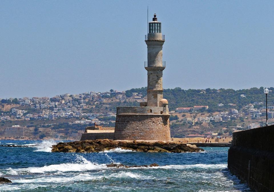Lighthouse, Sea, Greece, Chania, Wave, Coast, Summer