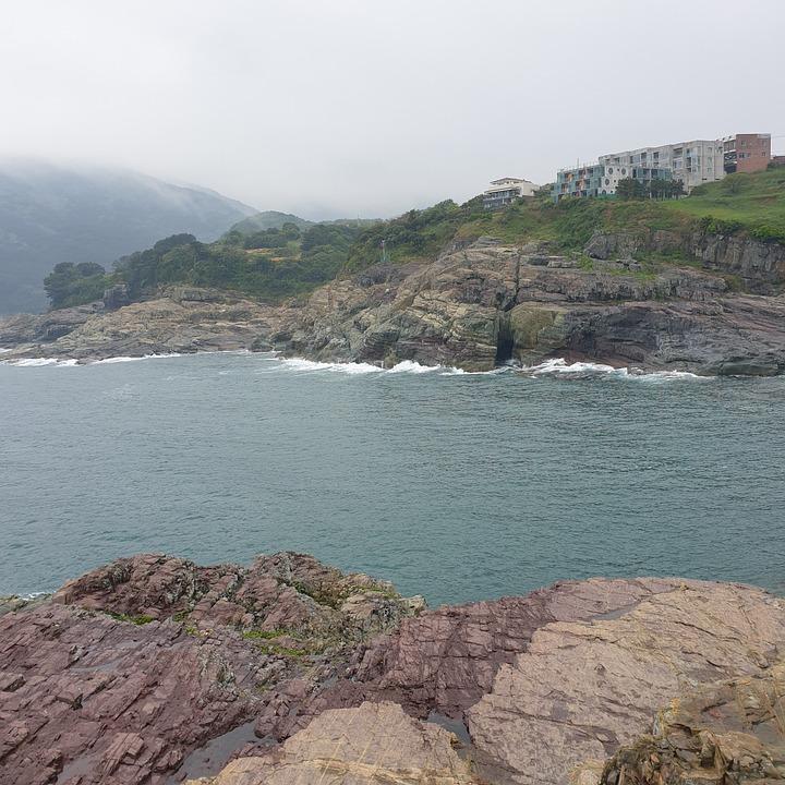 Sea, Waves, Shore, Coast, Cliff, Island