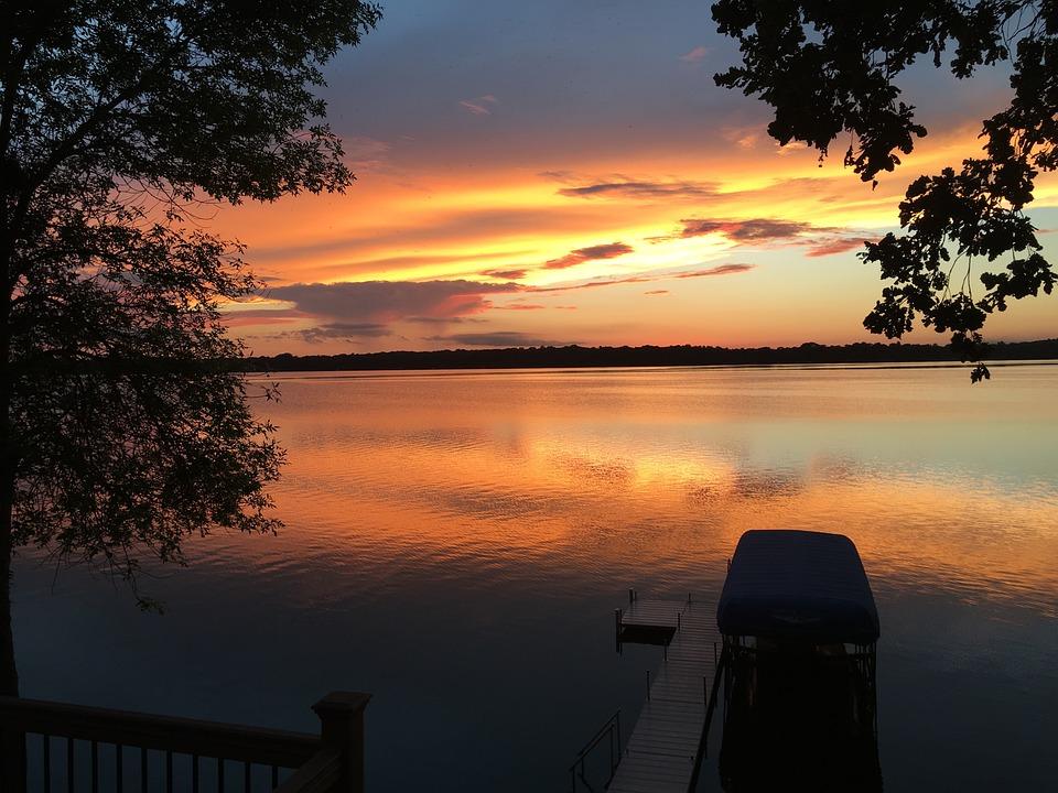 Sunset, Lake, Cloud, Summer, Coast, Coastline, Vacation