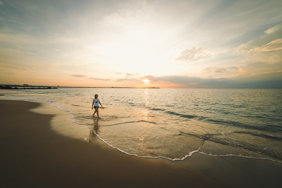 Beach, Model, Sky, Sea, Water, Sunset, Horizon, Coast