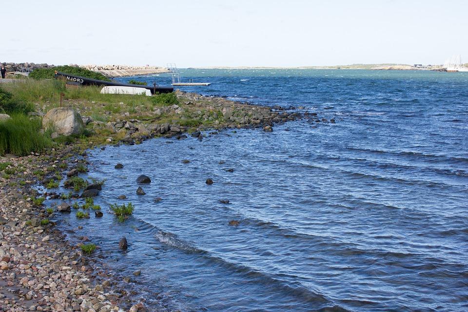 Sweden, Varberg, Sea, Summer, Coast, Horizon, Stone