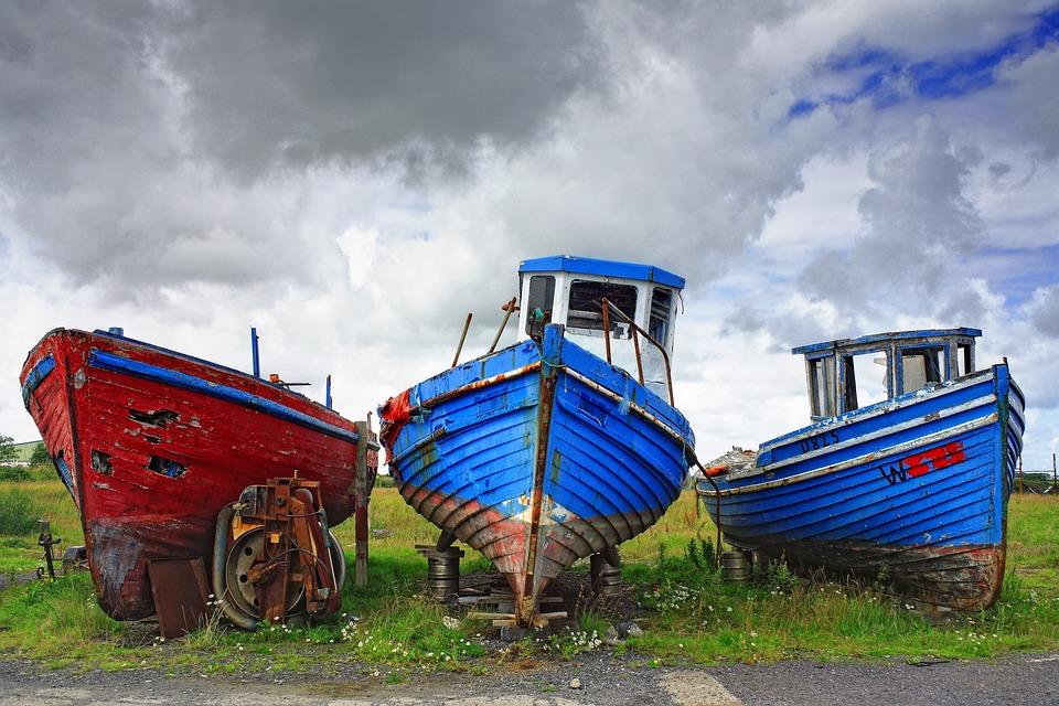 Boat, Blue, Atlantic, Ireland, West, Coast, Sky, Nature