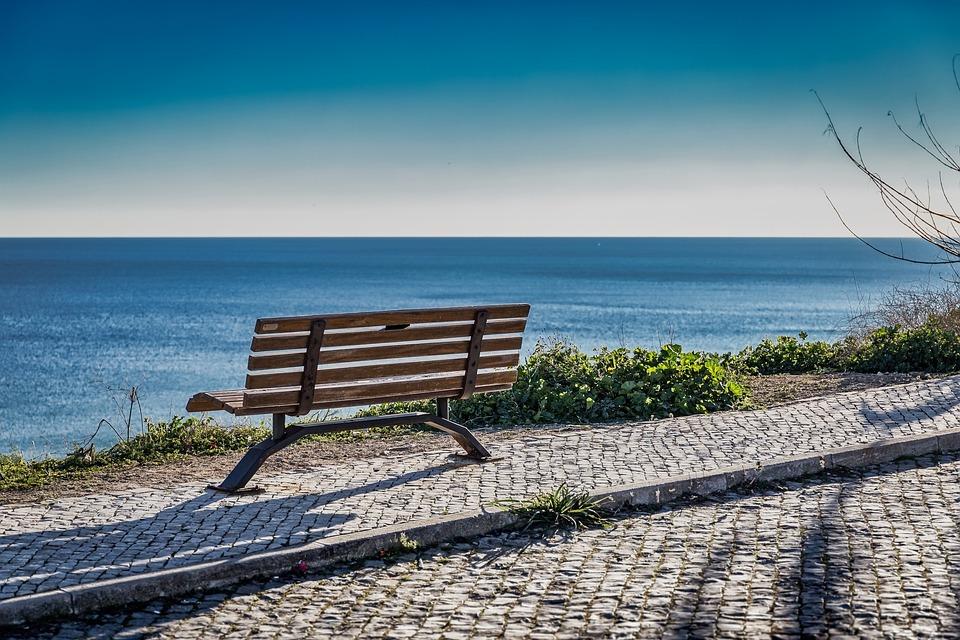 Bench, Coast, Sea, Water, Beach, Landscape, Ocean