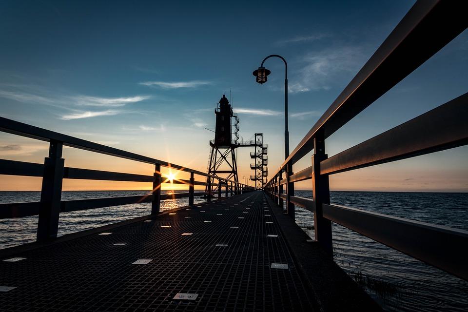 Lighthouse, Bridge, Pier, Coast, Dorum-neufeld