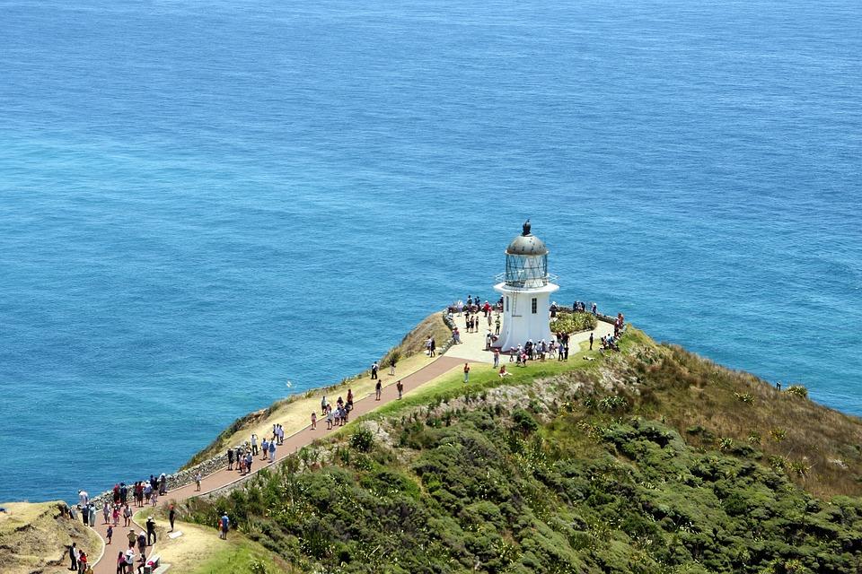 Lighthouse, Sea, New Zealand, Coast