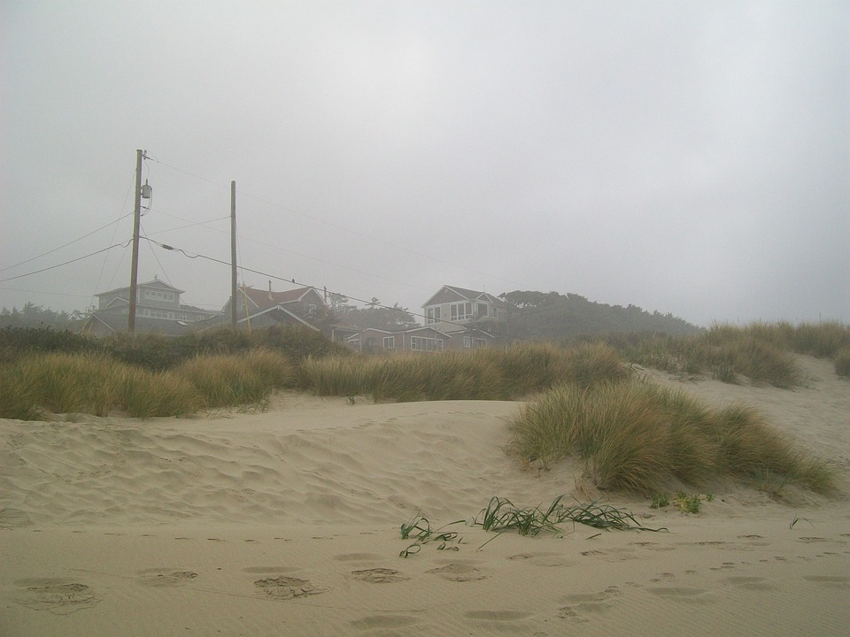 Beach, Sand, Grass, Ocean, Coast, Oregon, Sandy