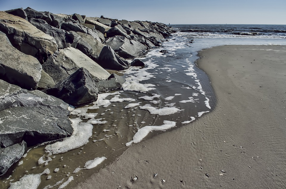 Beach, Coast, Ocean, Sand, Rocks, Atlantic City