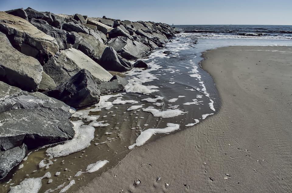 Beach, Coast, Ocean, Sand, Rocks, Atlantic City
