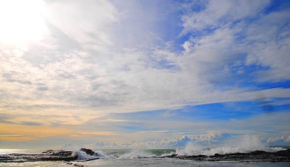 Ocean, Coast, Waves, Spray, Sky, Clouds, Sea, Beach