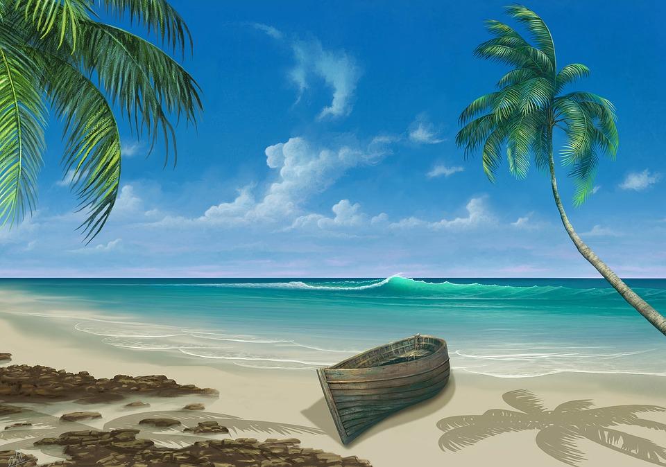 Beach, Boat, Painting, Paradise, Palm, Coast, Sand