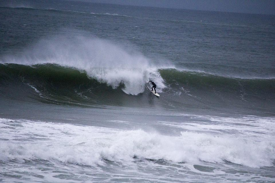 Surfing, North, Coast, Portrush, Northern, Ireland, Sea