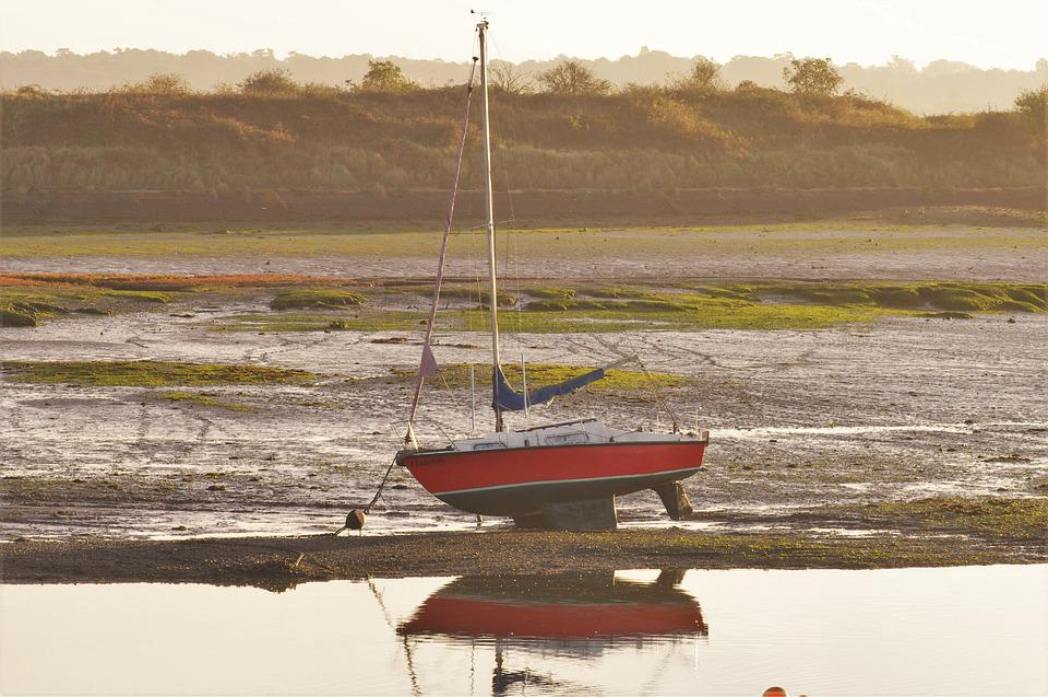 Boat, Low Tide, Coast, Sailing Boat, Sea, Mudflat