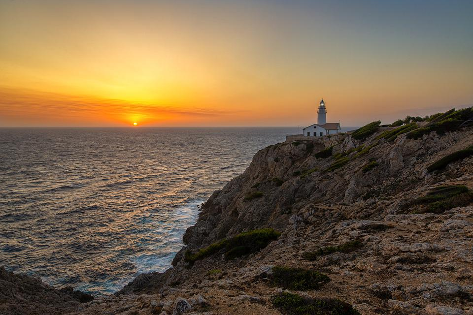 Lighthouse, Sun, Sea, Sky, Sunset, Coast, Ocean, Light