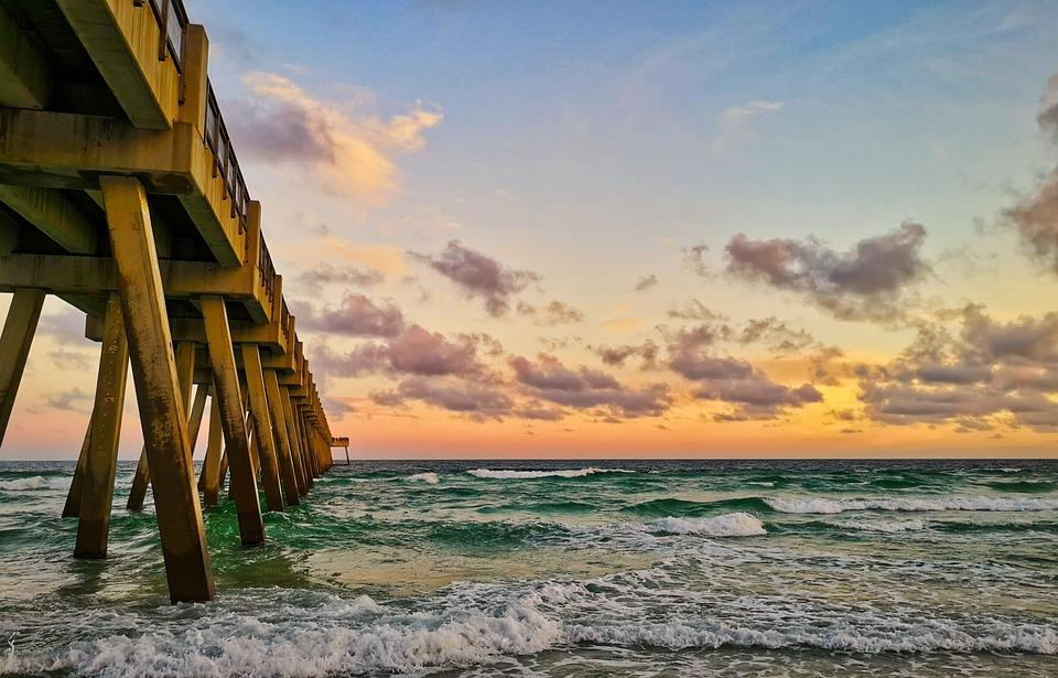 Beach, Sunset, Abendstimmung, Pier, Coast, Water, Sea