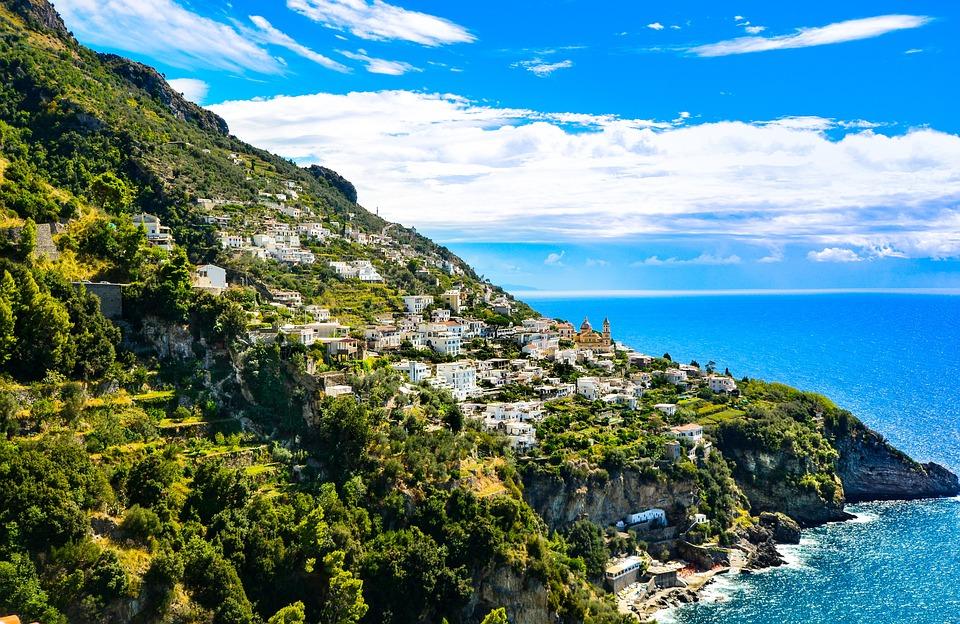 Amalfi, Hillside, Town, Coast, Beach, Sea, Waves, Italy