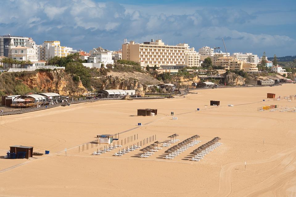 Algarve, Portugal, Beach, Alone, Wide, Coast, Sand, Sea