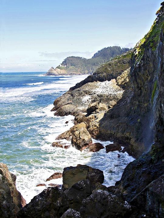 Oregon, Usa, Coastal Line, Shoreline, Scenery, Water