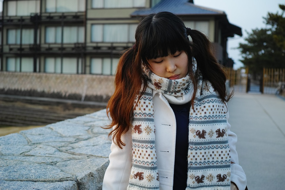 Girl, Scarf, Coat, Winter Clothes, Young, Japan