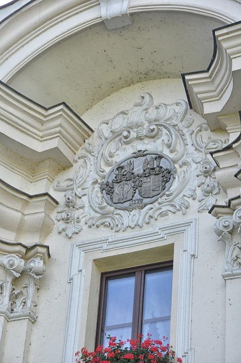 Coat Of Arms, Window, Leaves, Jacek Leaves, Stone