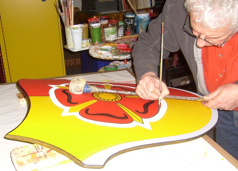 Coat Of Arms Of Painting, Time Stock, Paint Brush