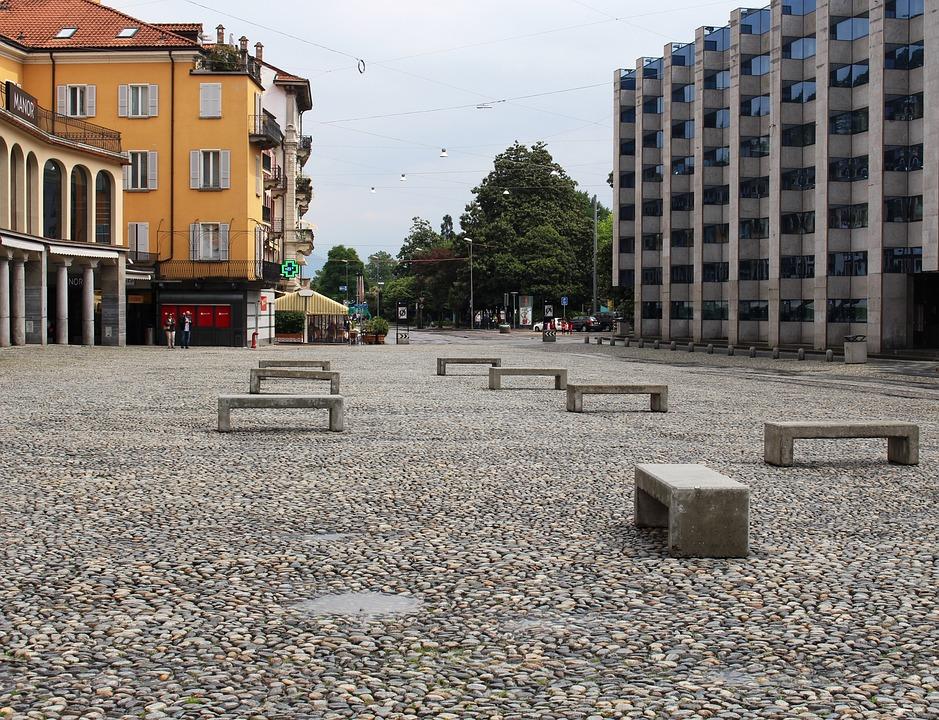 Locarno, Space, Piazza Grande, Cobblestones, Homes