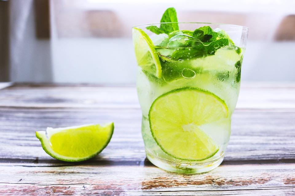 Water Glasses, Mint, Cocktail, Lemon, Ice, Beverage