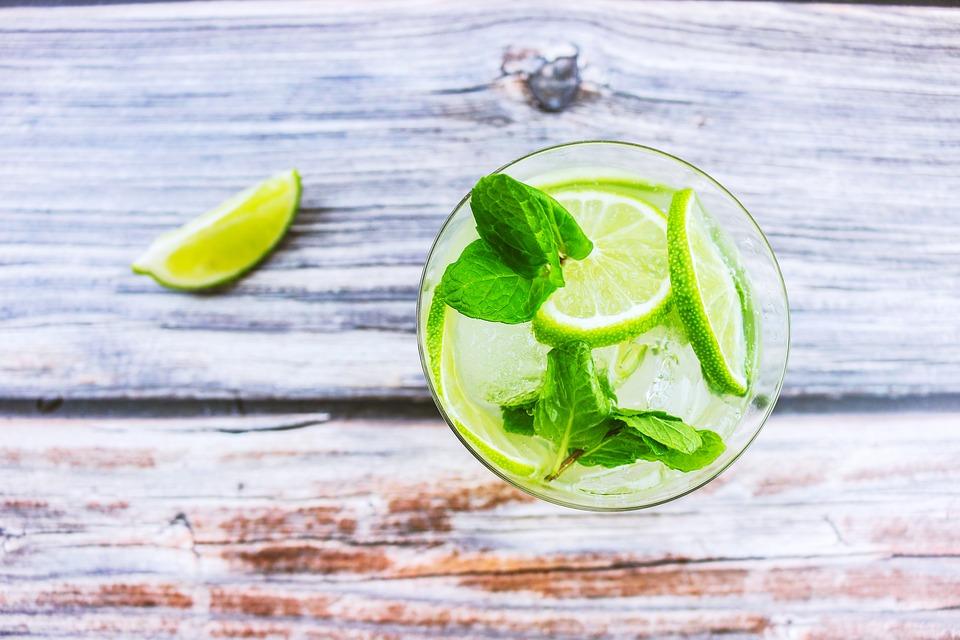 Cocktail, Beverage, Lemon, Ice, Water Glasses, Mint