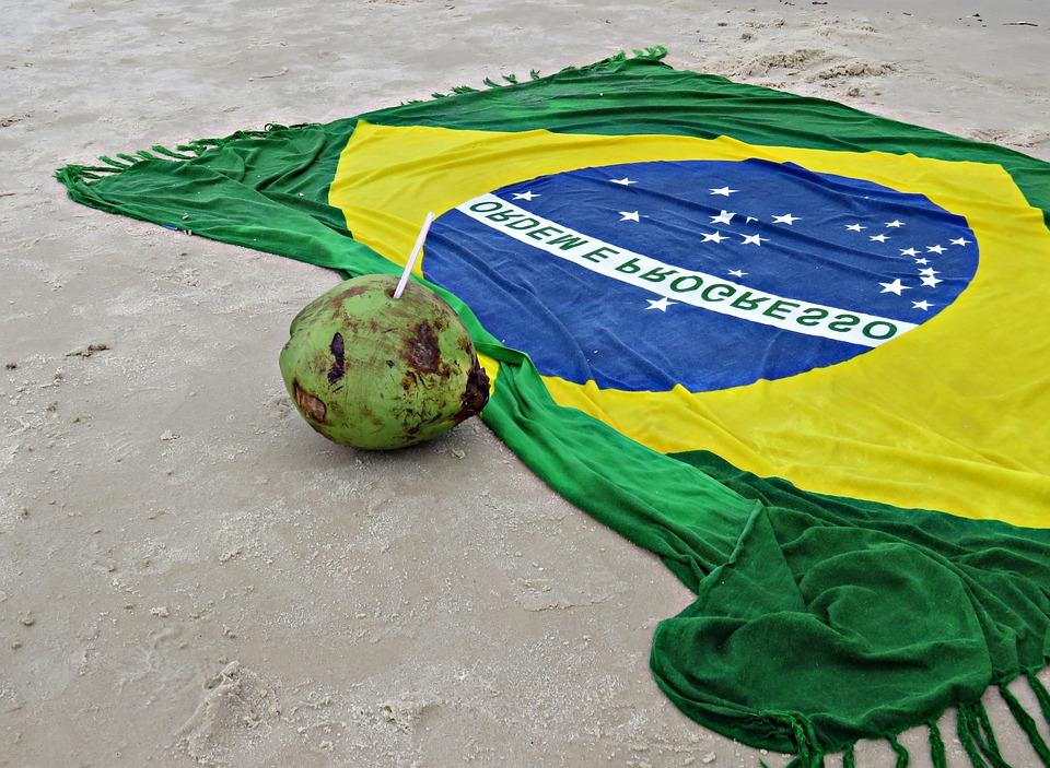 Brazil, Beach, Coconut Water, Flag, Sand, Coco
