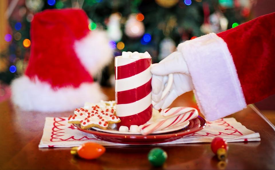 Santa's Arm, Hot Chocolate, Cocoa, Christmas Cookie