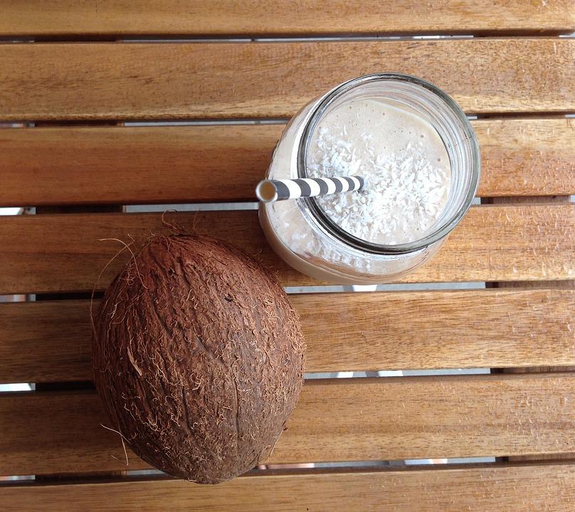 Coconut, Smoothie, Straw, Glass, Drink, Summer