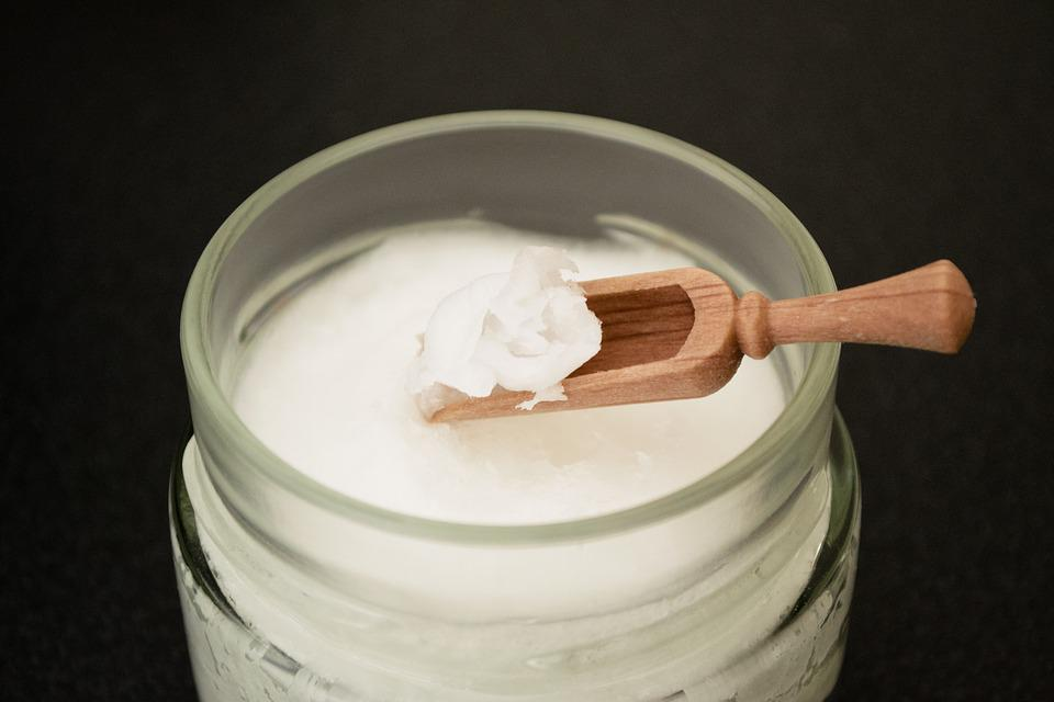 Coconut Oil On Wooden Spoon, Coconut Oil In Glass Jar