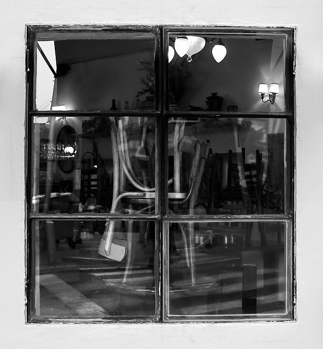 Window, Coffe, Chairs, Black And White, Café, Furniture