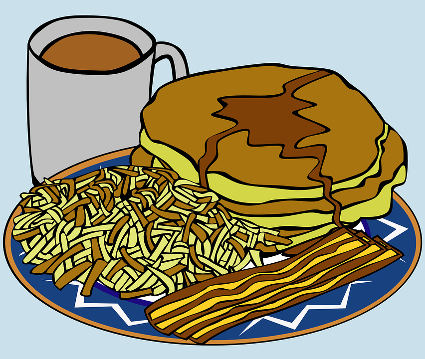 Breakfast, Pancakes, Bacon, Coffee, Home Fries, Meal