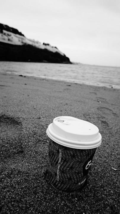 Monochrome, Water, Sea, Relaxation, Beach, Coffee, Sand