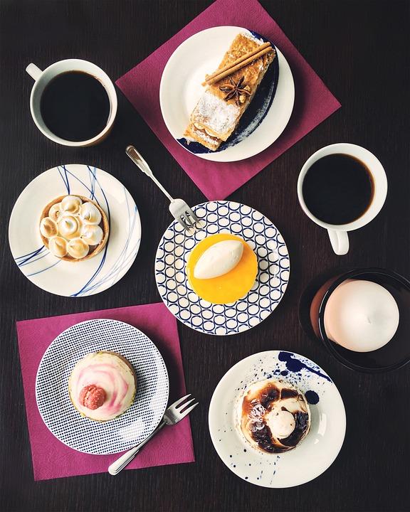Cake, Dessert, Coffee, Snacks, Treats, Food, Drinks