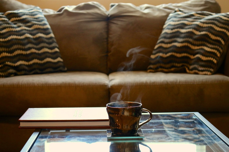 Coffee, Coffee Table, Couch, Leather Book, Glass Table