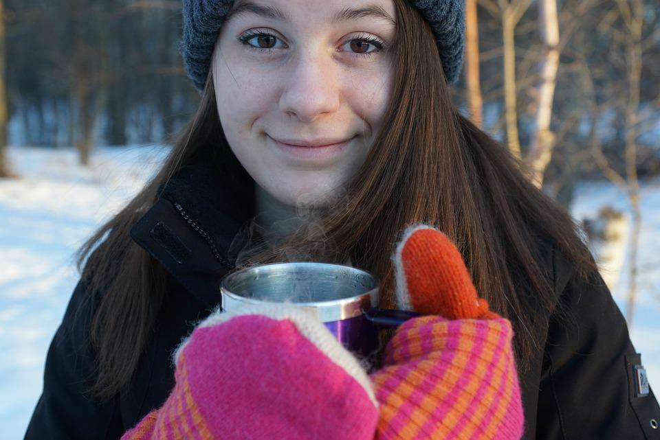 Coffee, Winter, Girl, Teen, Cup, Happy