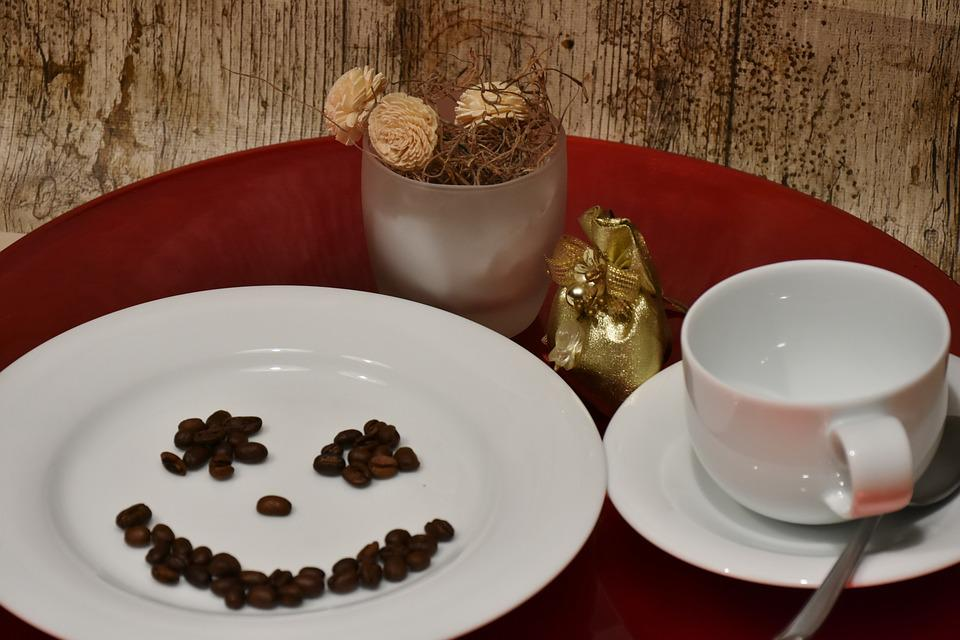 Plate, Cup, Coffee Cup, Coffee, Coffee Beans, Cover