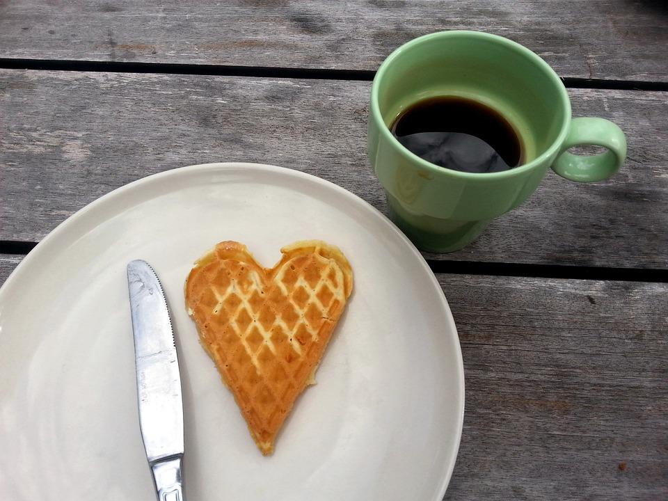 Heart, Waffle, Breakfast, Love, Dessert, Food, Coffee