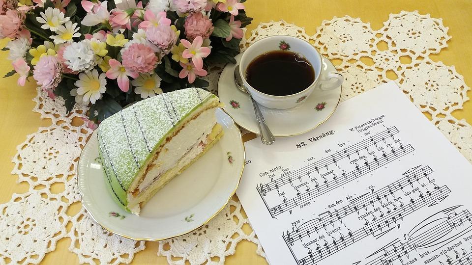 Flowers, Coffee, Cake, Sheet Music, Princess Cake