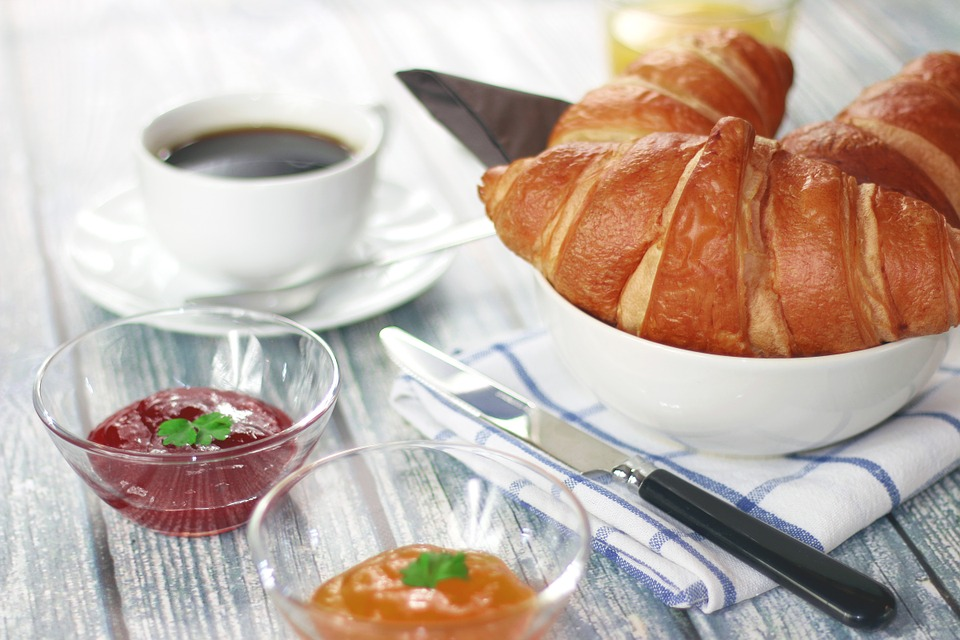 Croissants, Jam, Marmalade, Breakfast, Coffee, Cup