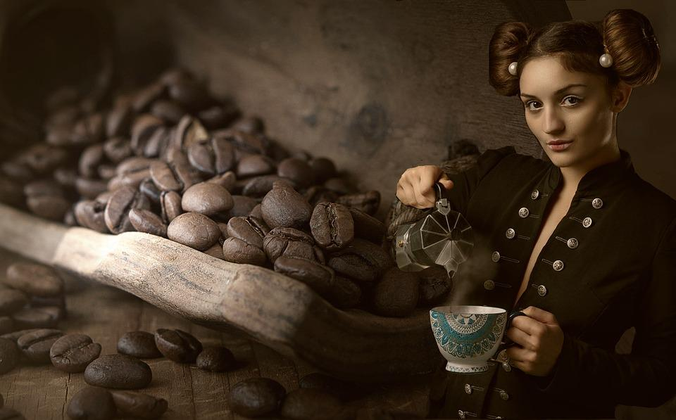 Woman, Coffee, Beans, Lifestyle, Drink, Fantasy, Cup