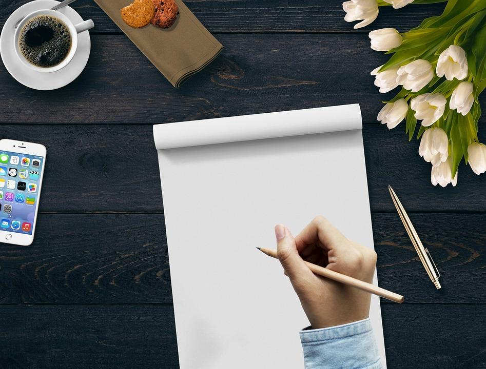 Writing, Hand, Coffee, Notepad, Flowers, Mobile Phone