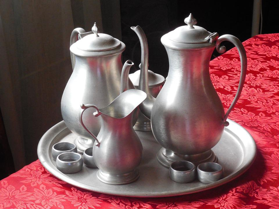 Pewter, Teas Service, Beverage, Tea, Coffee, Service