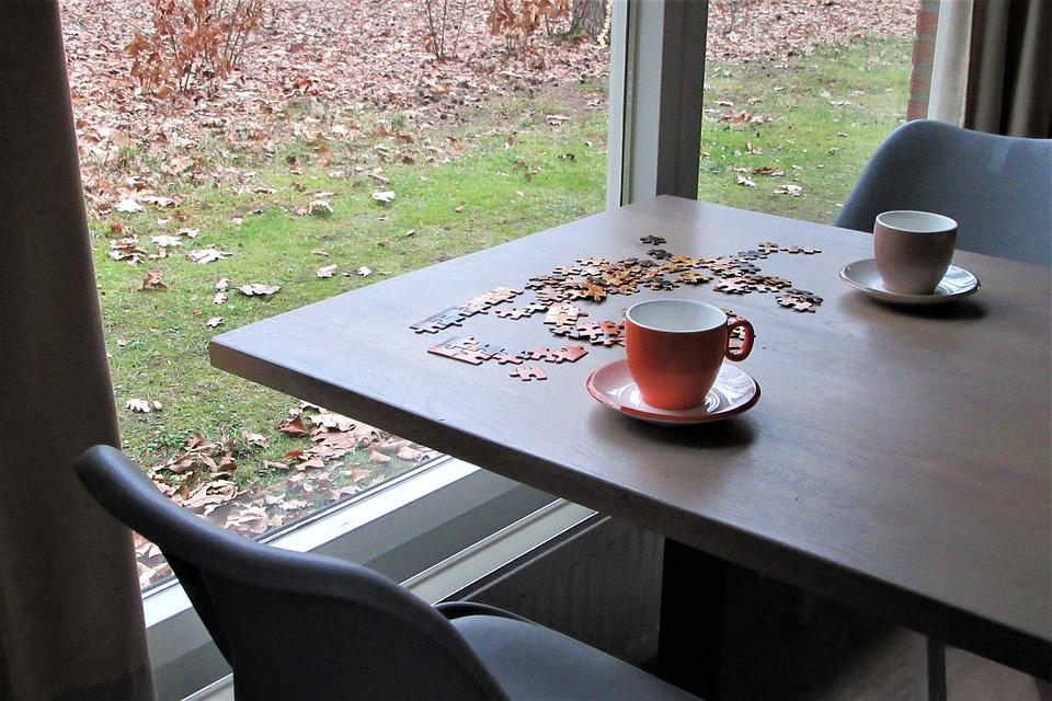 Puzzling, Together, Coffee, Tea, Cups, Window, Hobby